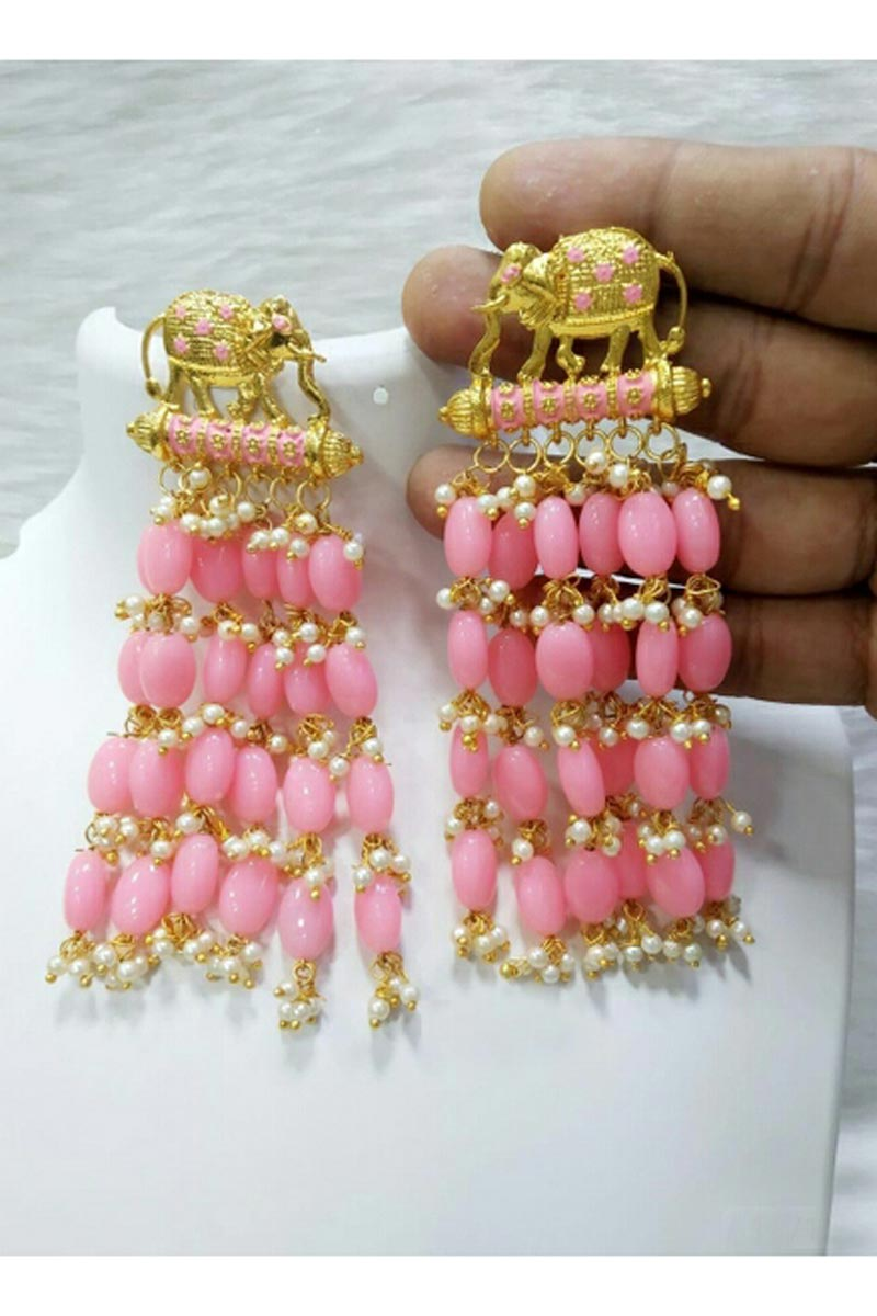 Fancy Party Style Pink Color Designer Earrings