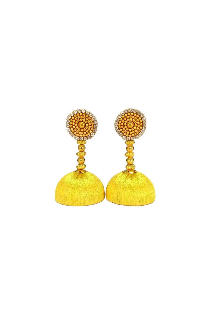 Yellow Color Customized Silk Thread Handmade Earrings