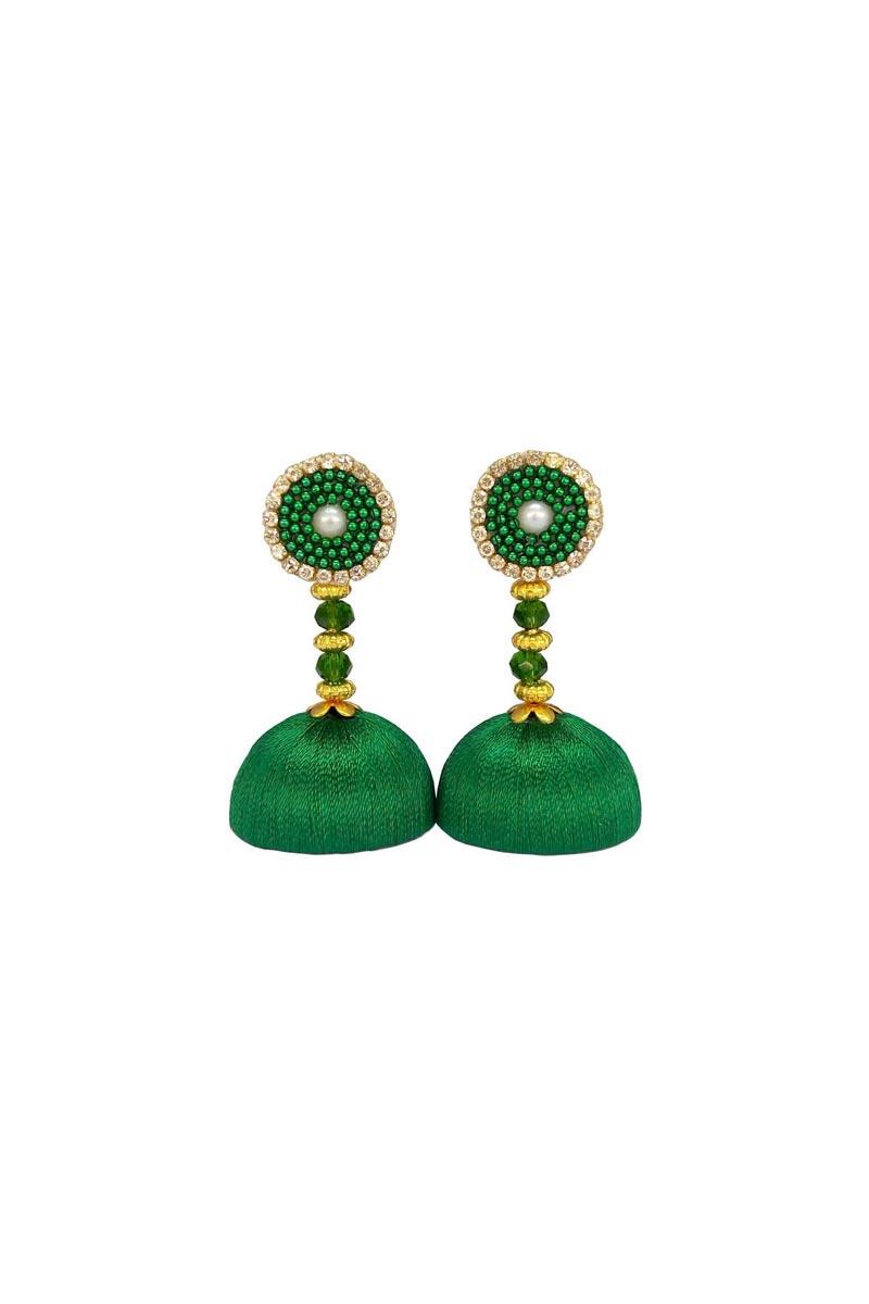 Customized Silk Thread Handmade Earrings In Green Color