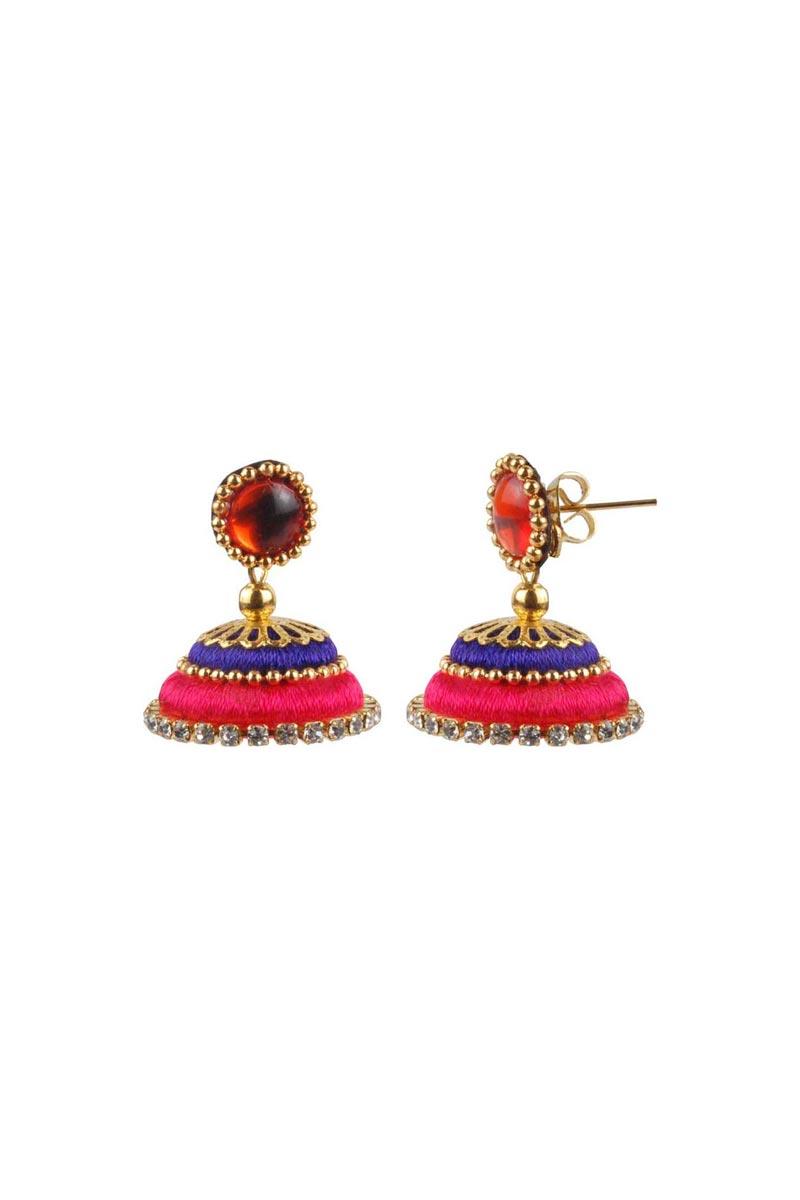 Customized Silk Thread Rani and Purple Color Handmade Earrings
