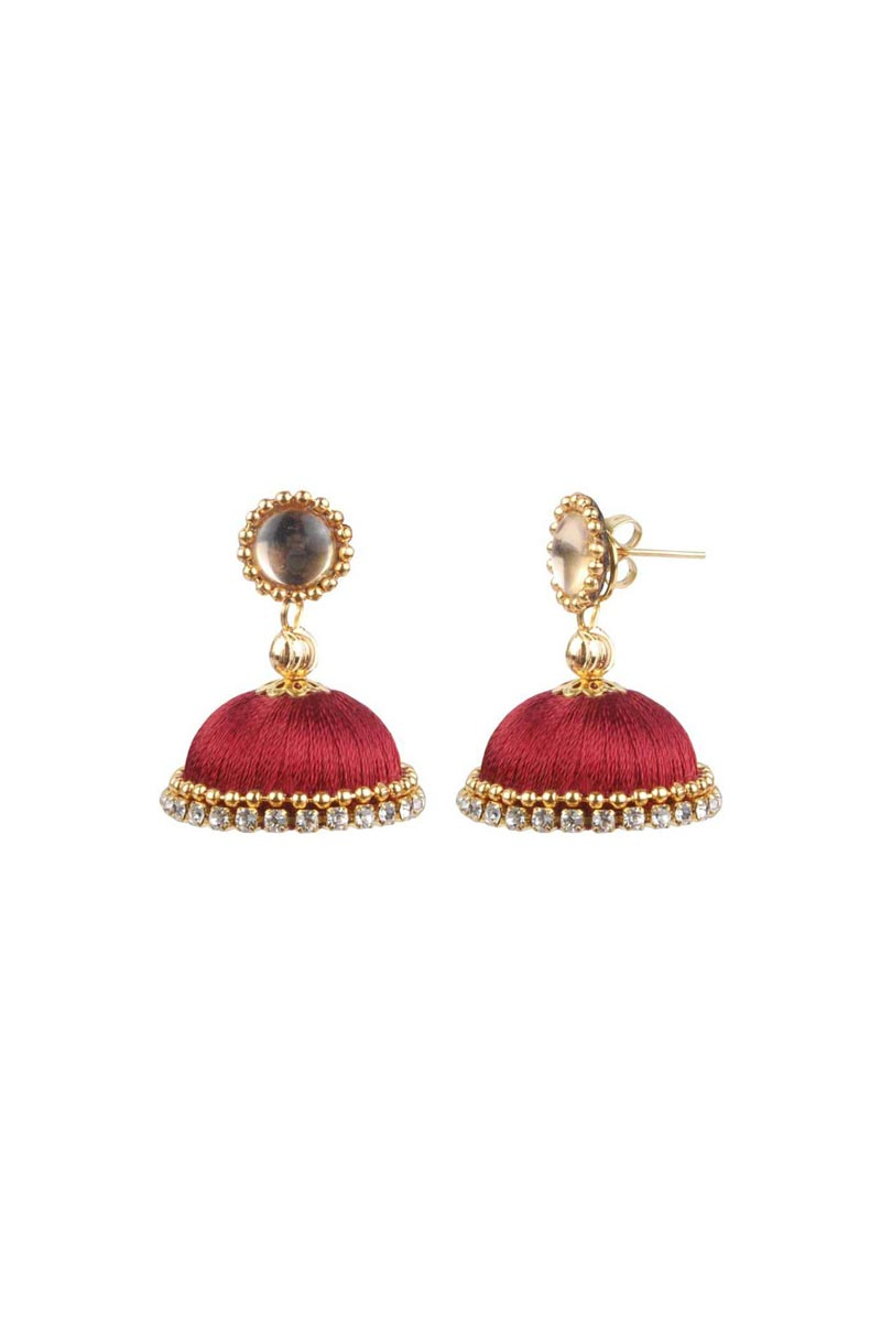 Maroon Color Customized Silk Thread Handmade Earrings