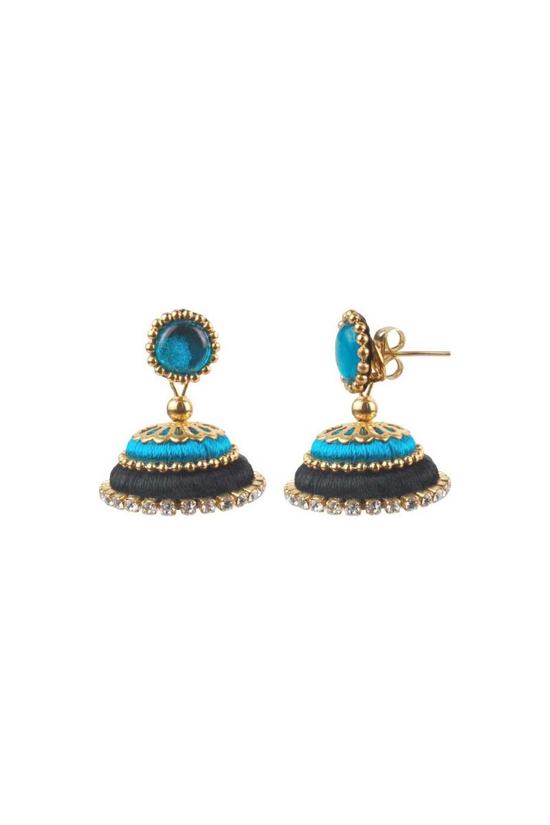 Black and Sky Blue Customized Silk Thread Handmade Earrings