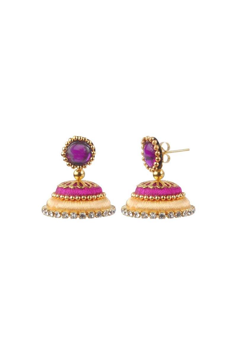 Customized Silk Thread Handmade Beige and Rani Color Earrings