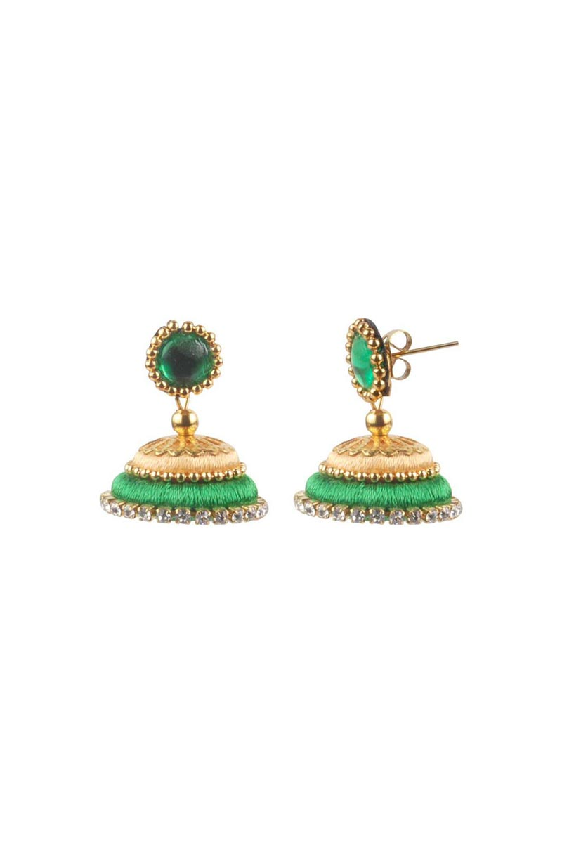 Beige and Green Color Handmade Customized Silk Thread Jhumkas