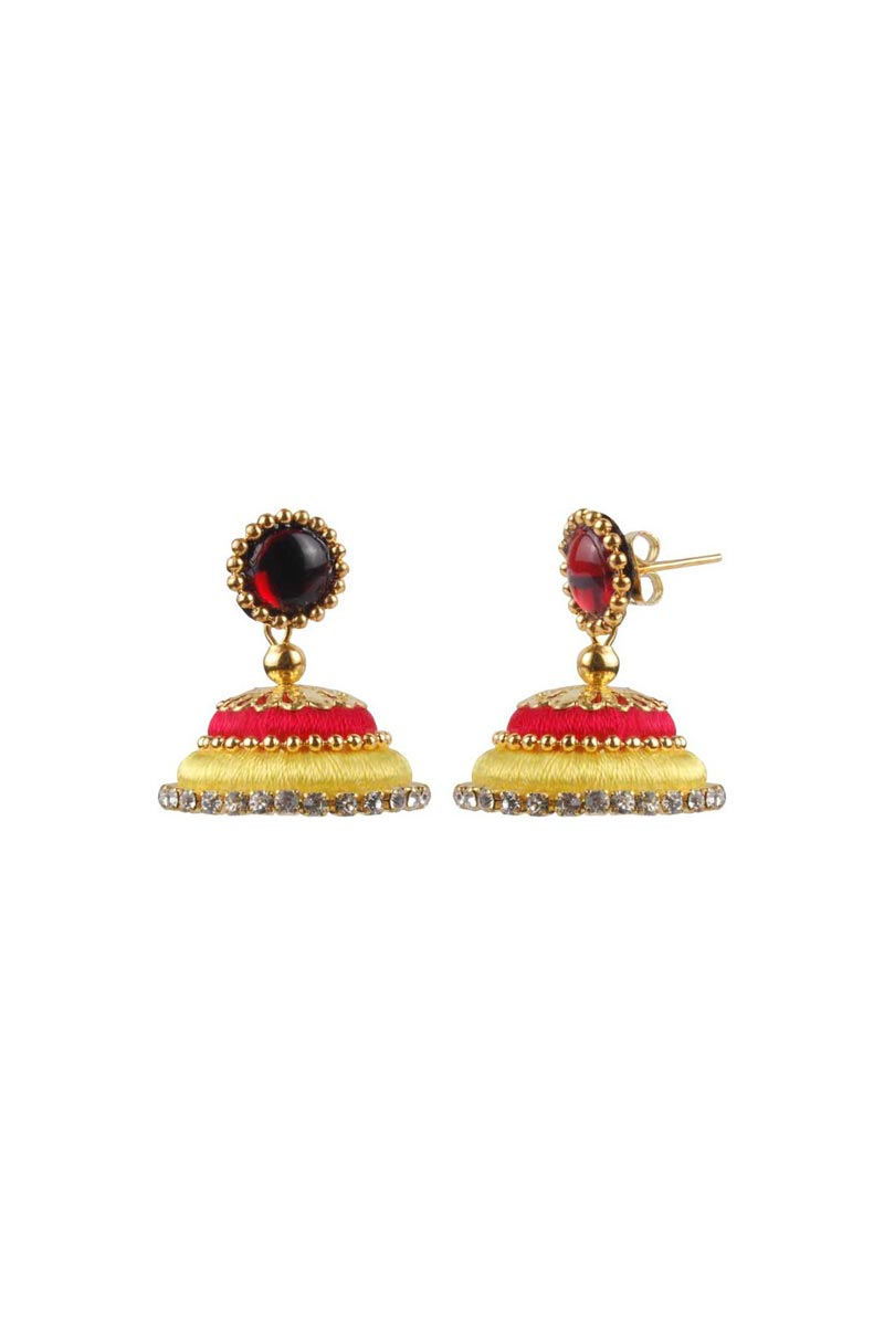 Customized Silk Thread Handmade Earrings In Red and Yellow Color