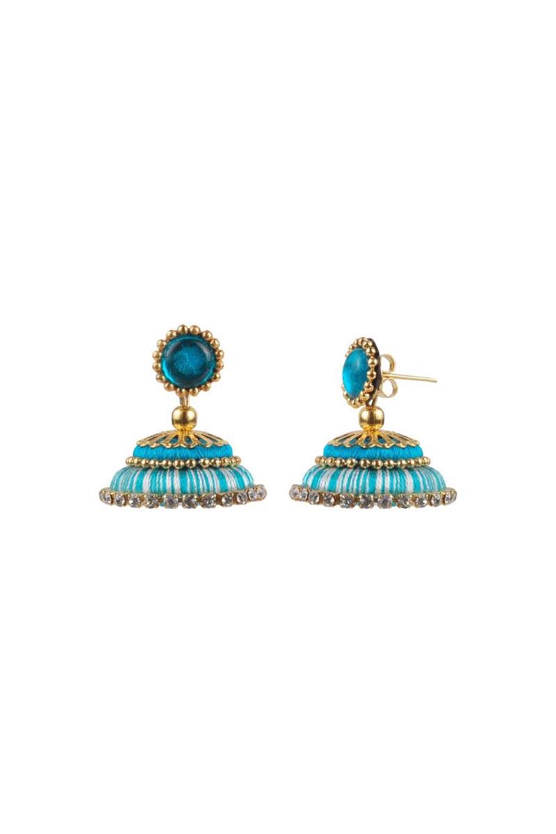 Sky Blue Color Handmade Customized Silk Thread Jhumkas