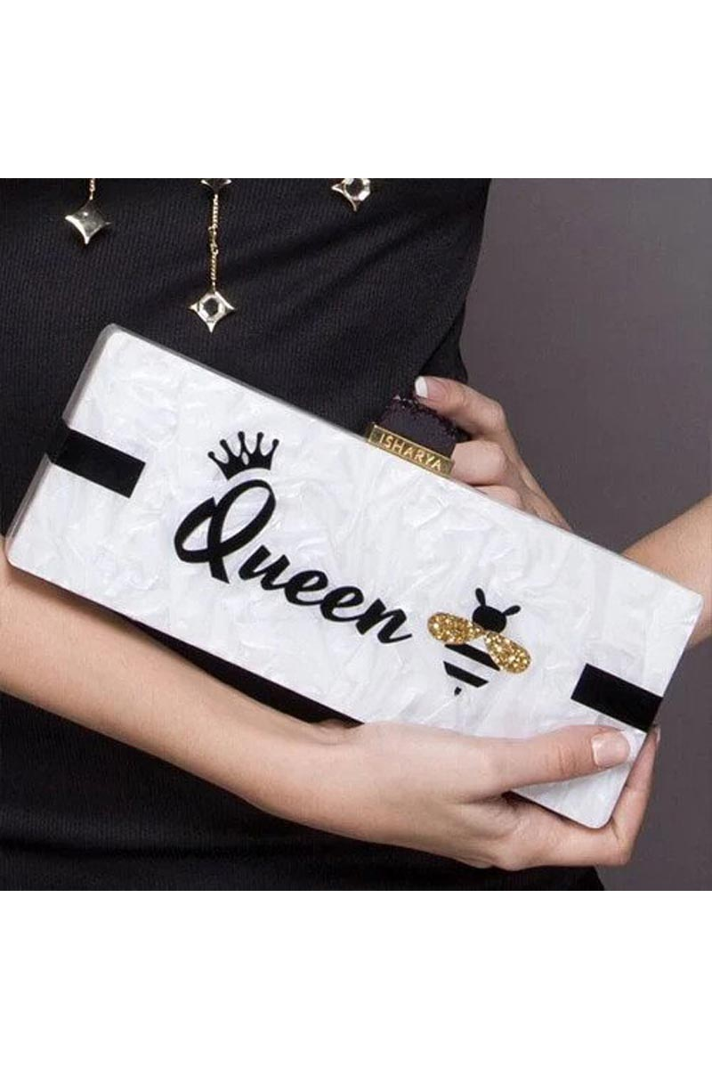 Exclusive Personalized Acrylic Clutch Bag in White