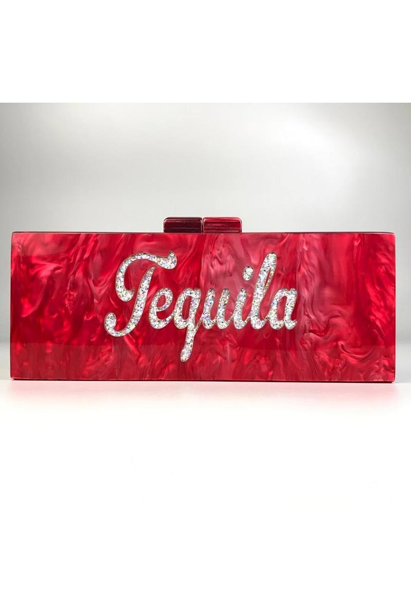 Red Color Personalized Acrylic Designer Clutch Bag for Women