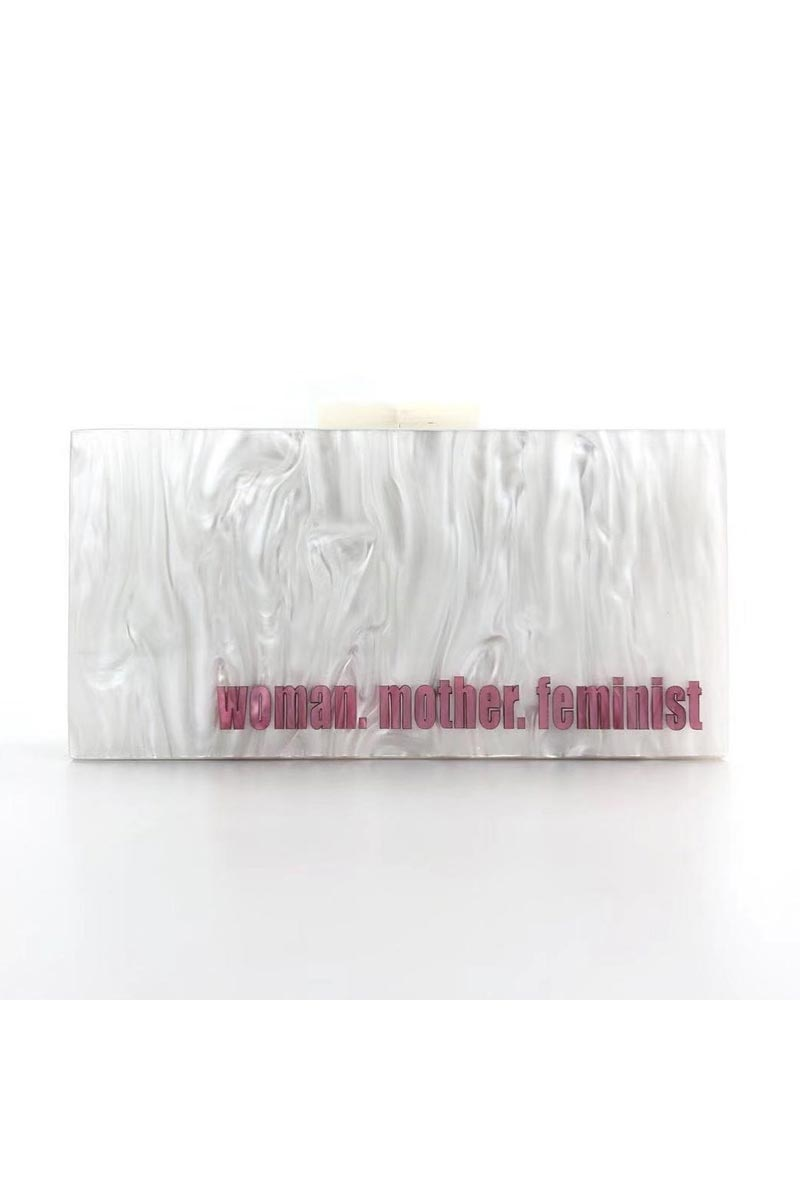 Personalized Acrylic Designer White Color Clutch Bag for Women