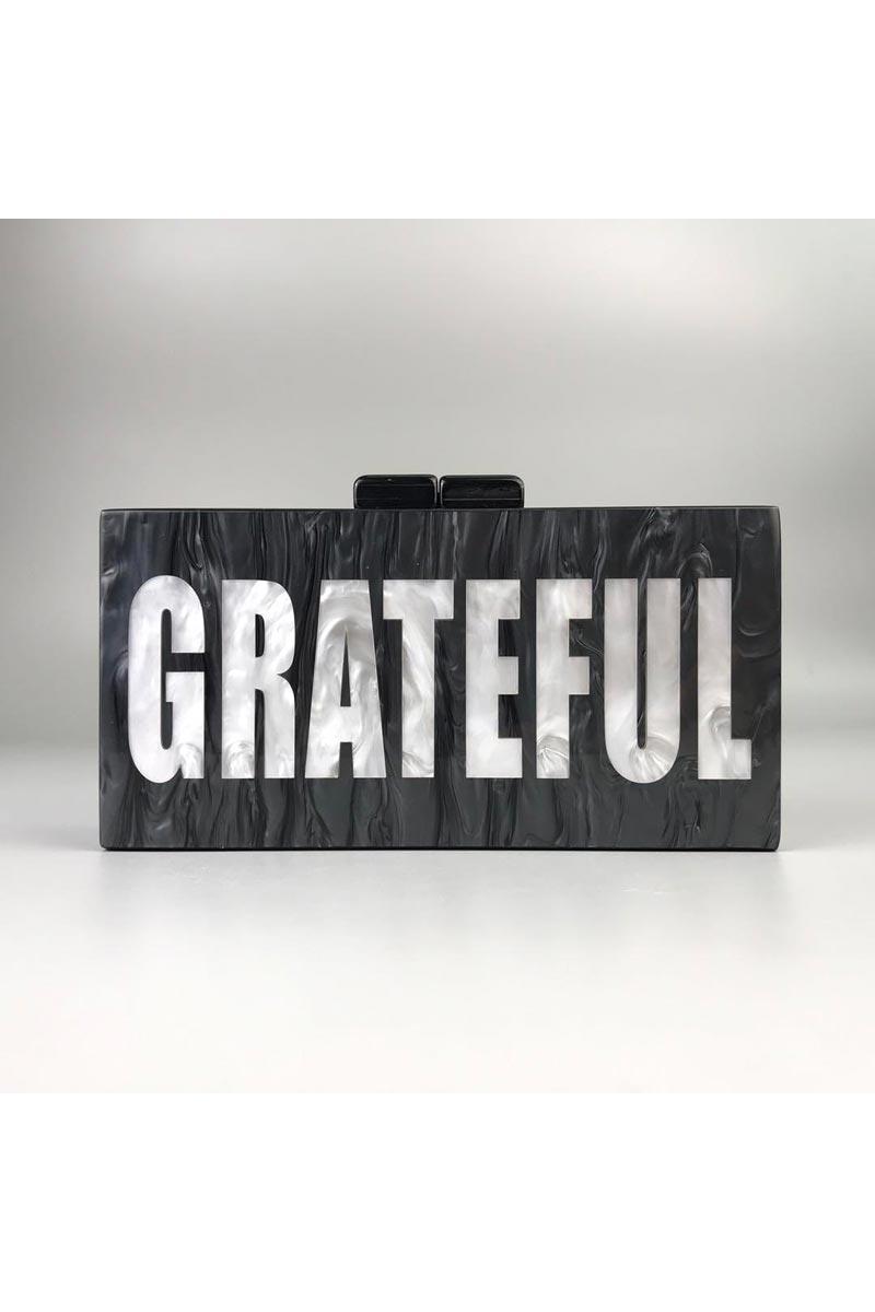 Black Color Custom Personalized Acrylic Material Designer Clutch Purse