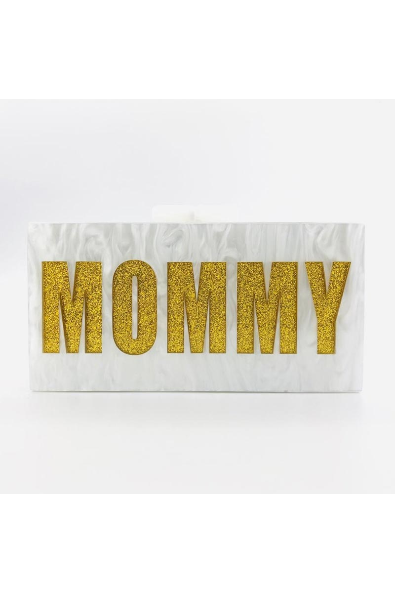 Exclusive White Color Personalized Acrylic Clutch Bag