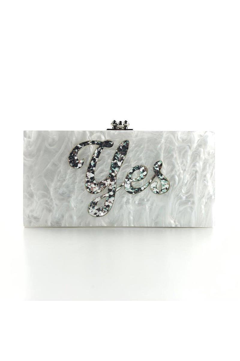 White Color Personalized Acrylic Designer Clutch Bag for Women
