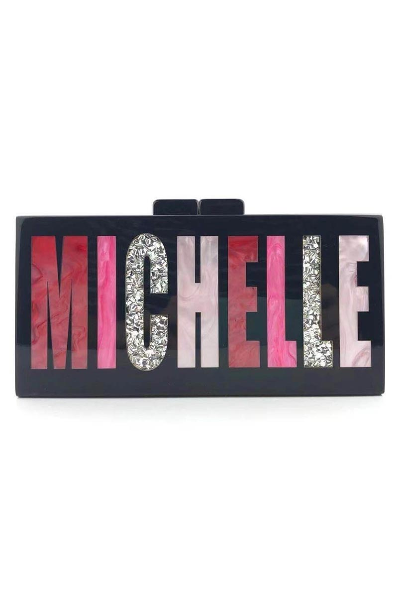 Black Color Exclusive Personalized Acrylic Clutch Bag