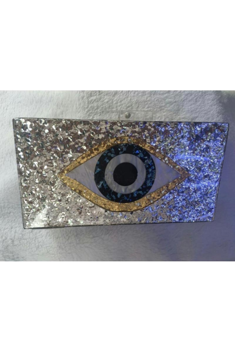 Silver Color Personalized Acrylic Designer Clutch Bag for Women