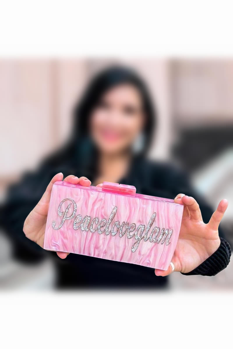 Pink Color Custom Personalized Acrylic Material Designer Clutch Purse