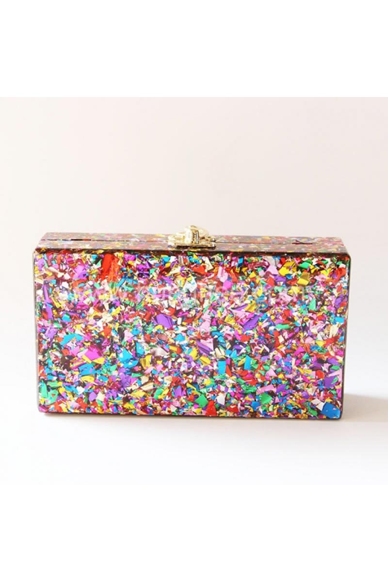 Multi Color Personalized Acrylic Designer Clutch Bag for Women