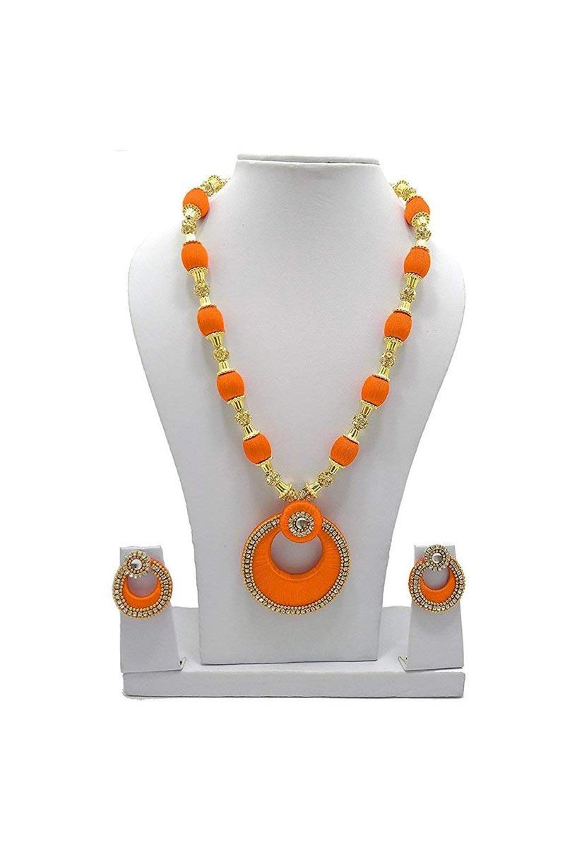 Customized Silk Thread Orange Handmade Necklace Set