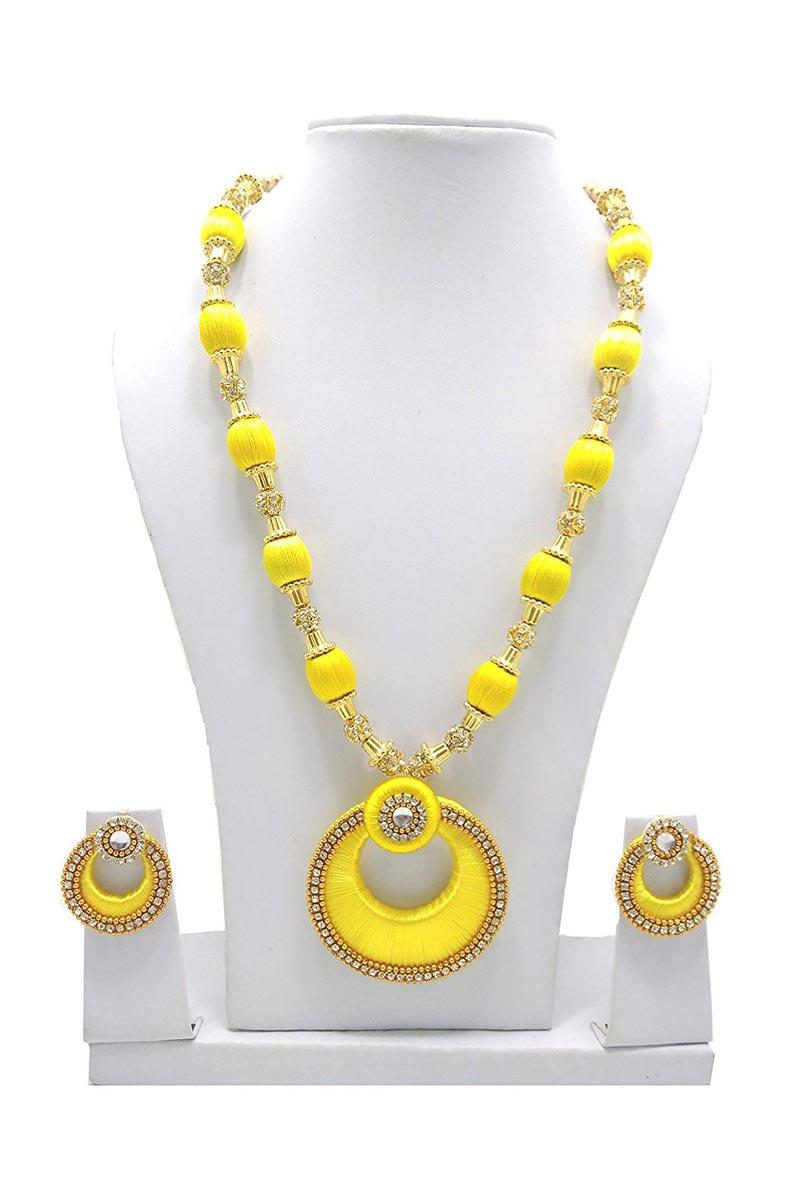 Silk Thread Handmade Customized Necklace Set In Yellow