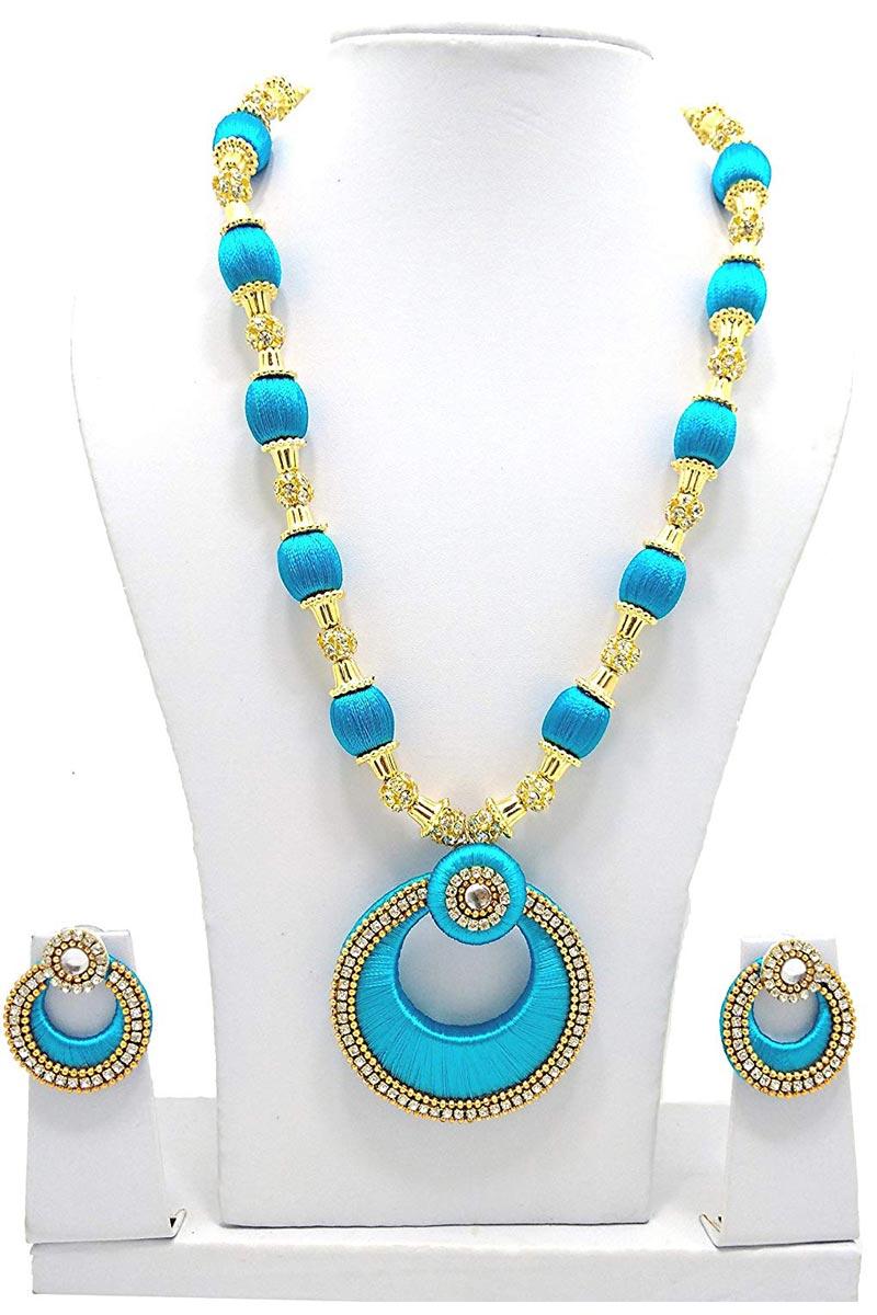 Customized Silk Fancy Sky Blue Thread Handmade Necklace Set