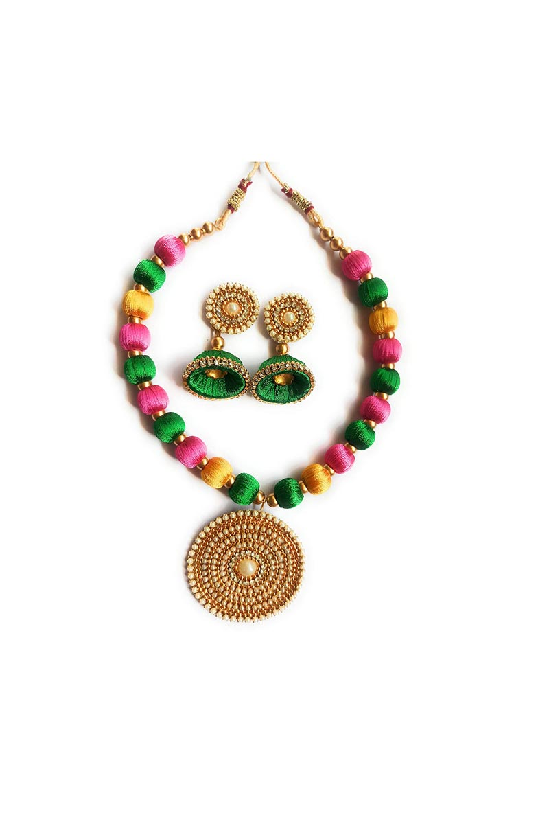 Multi Color Customized Silk Thread Handmade Necklace Set with Matching Earrings