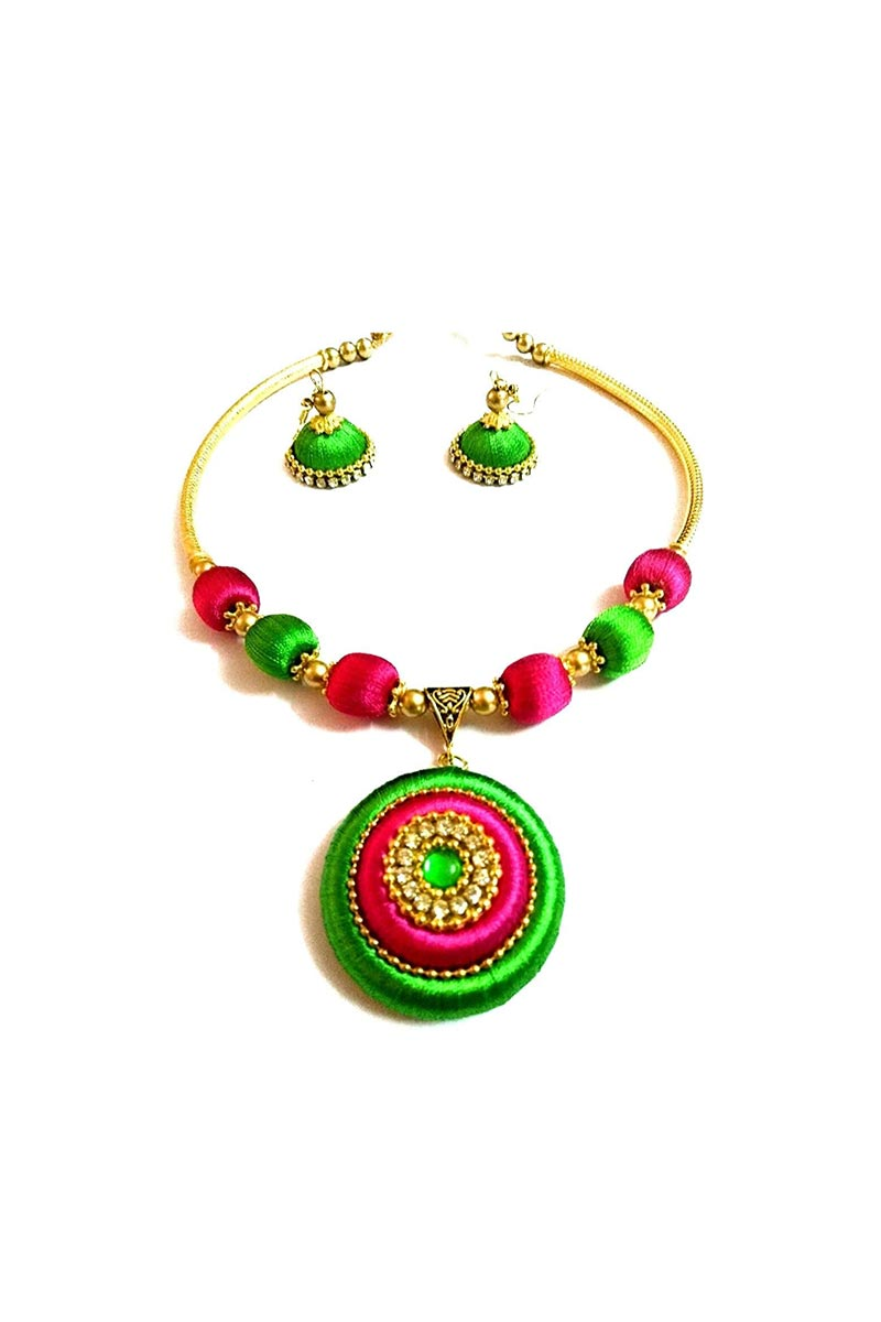 Green and Rani Color Customized Silk Thread Handmade Necklace Set with Matching Earrings