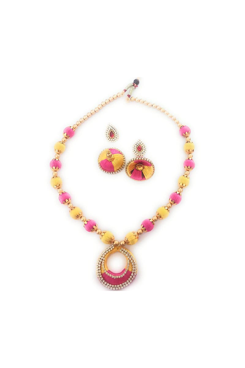 Handmade Customized Silk Thread Beige and Pink Color Necklace with Matching Jhumkas