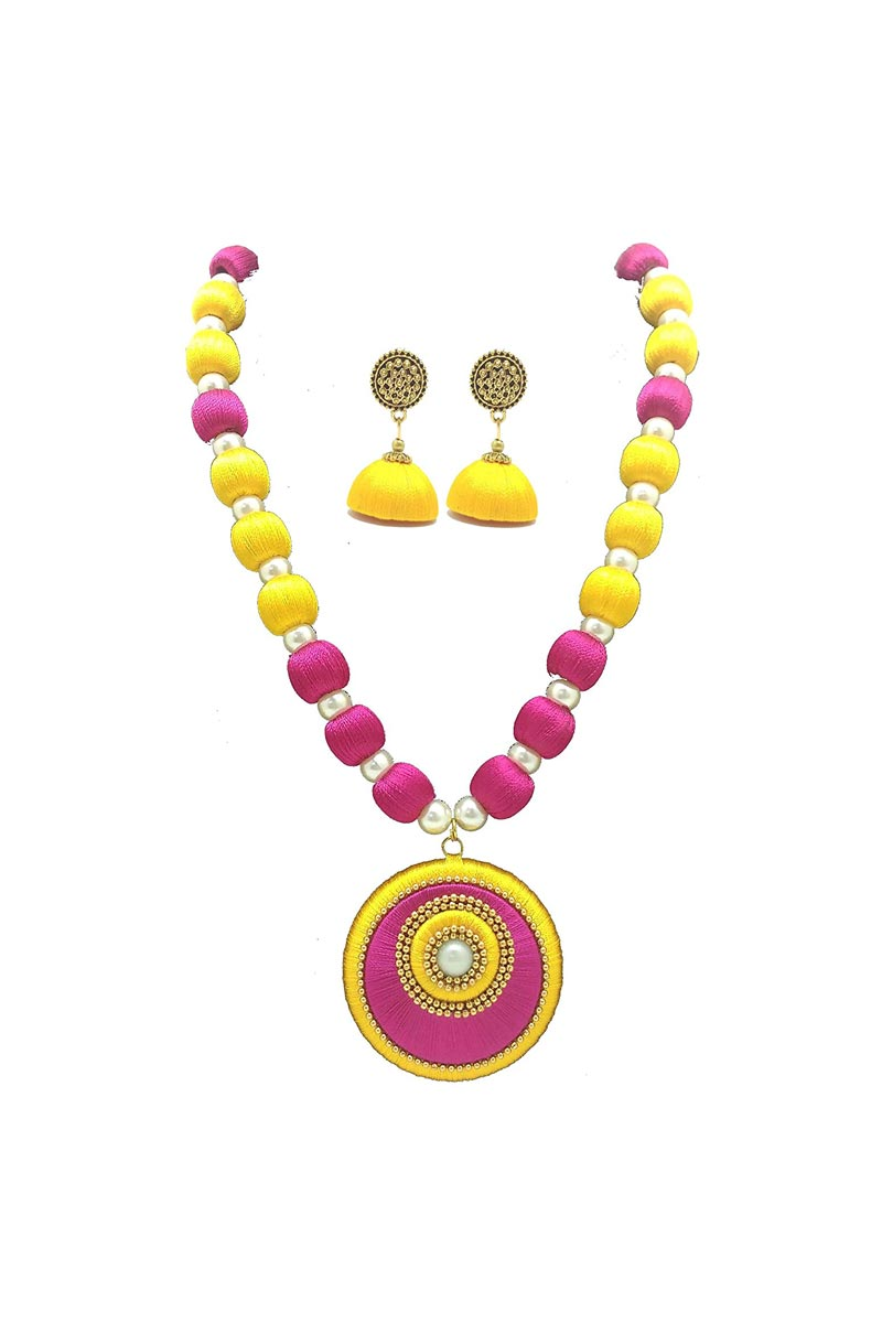 Rani and Yellow Color Customized Silk Thread Handmade Necklace Set with Matching Earrings