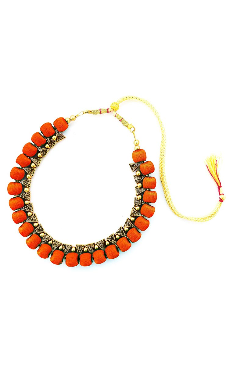 Orange Customized Silk Thread Handmade Necklace