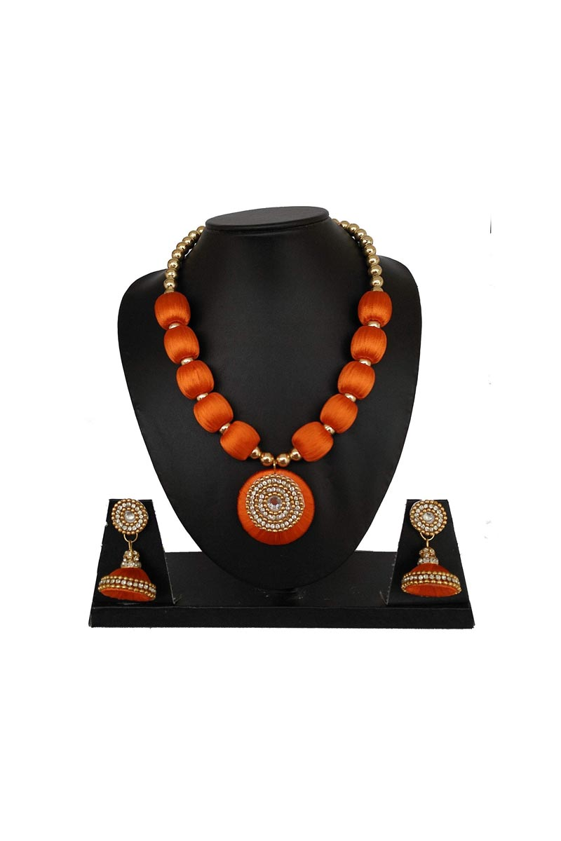Handmade Customized Silk Thread Orange Color Necklace with Matching Jhumkas