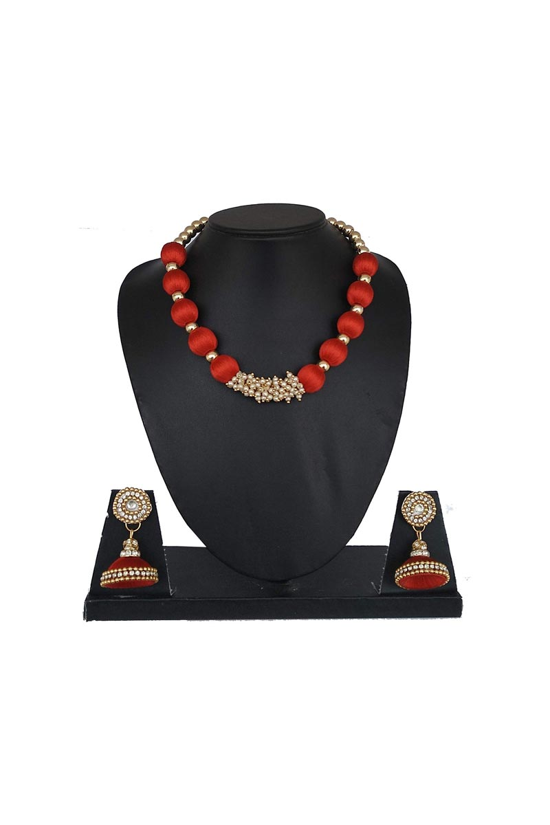 Red Color Customized Silk Thread Handmade Necklace Set with Matching Earrings