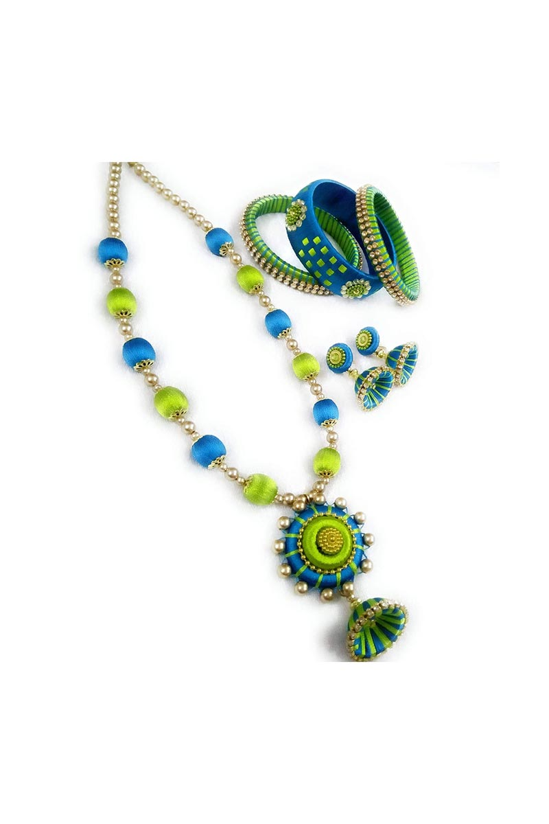 Handmade Customized Silk Thread Necklace with Matching Bangles and Earrings