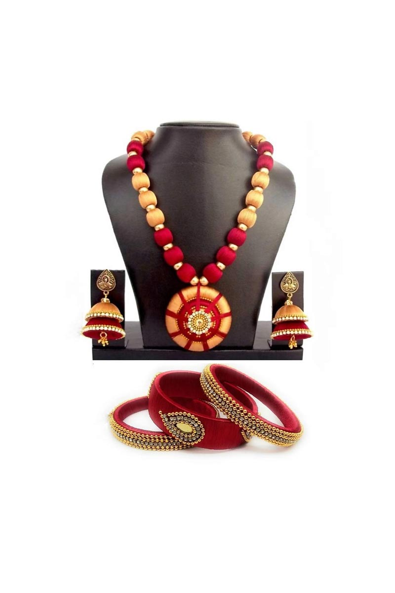 Customized Silk Thread Handmade Necklace Set with Matching Bangles and Earrings
