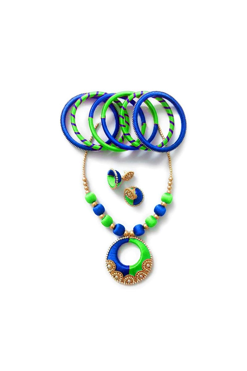Handmade Customized Silk Thread Necklace with Matching Bangles and Jhumkas