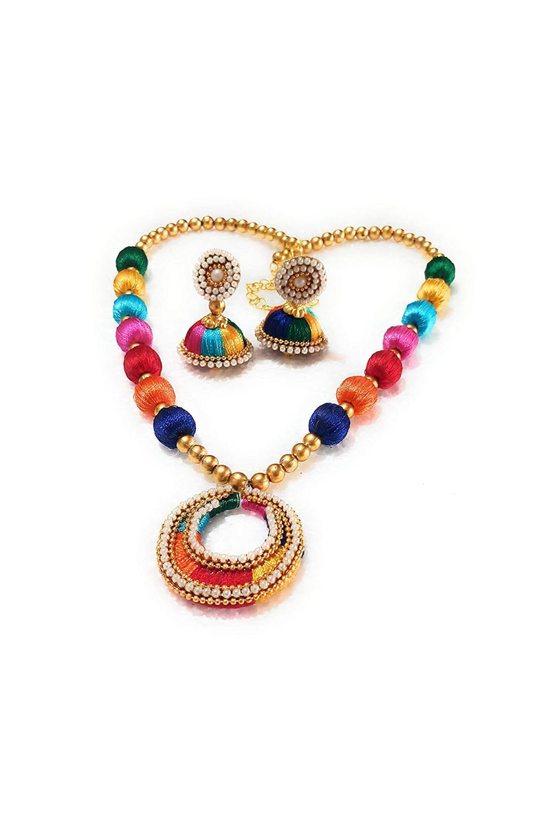 Customized Silk Thread Handmade Multi Color Necklace Set with Matching Earrings