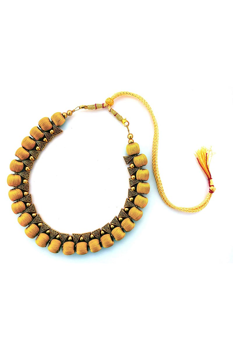 Silk Thread Handmade Customized Necklace In Beige Color