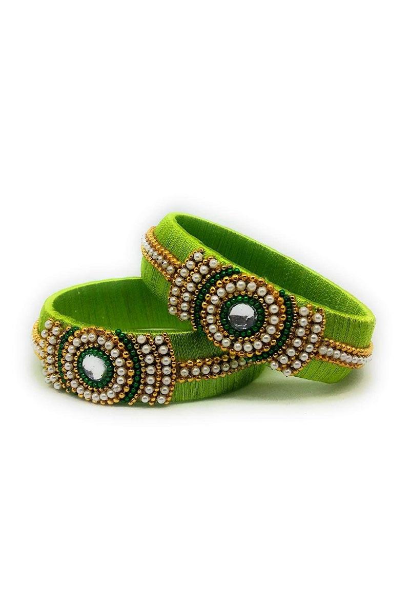Customized Silk Thread Green Handmade Patla Bangles