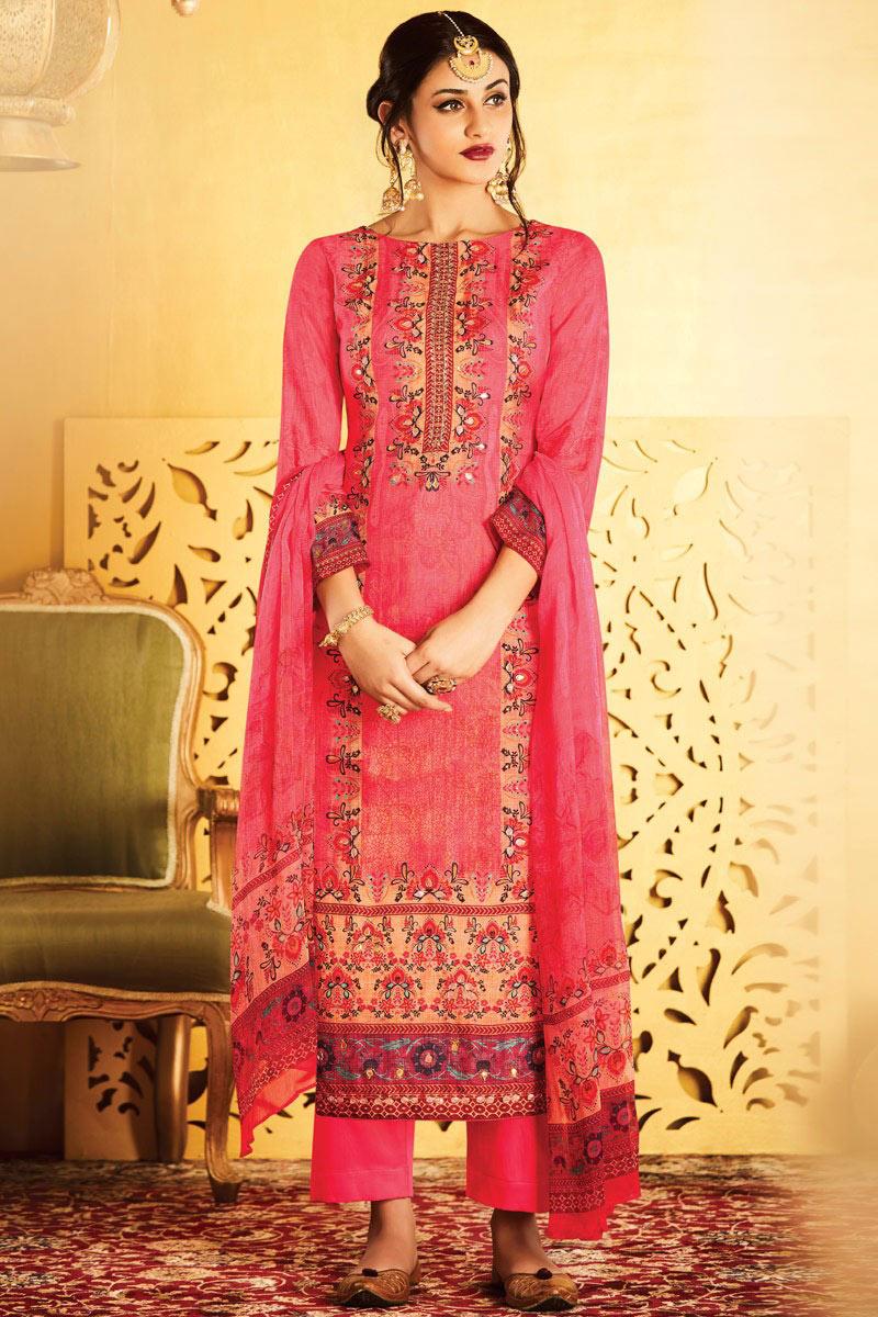 Occasion Wear Chiffon Fabric Printed Straight Cut Salwar Kameez In Pink