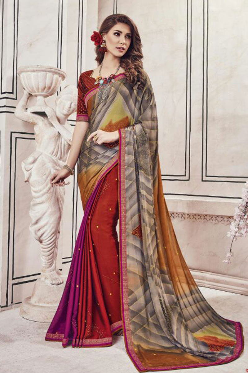 Chiffon Fabric Fancy Printed Office Wear Multi Color Saree