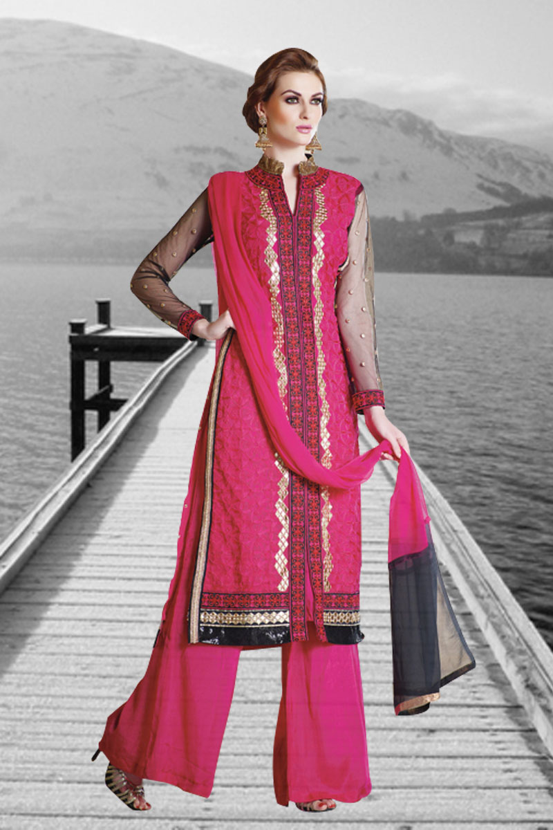 Pink Color Georgette Fabric Embroidery Work Fancy Palazzo Suit