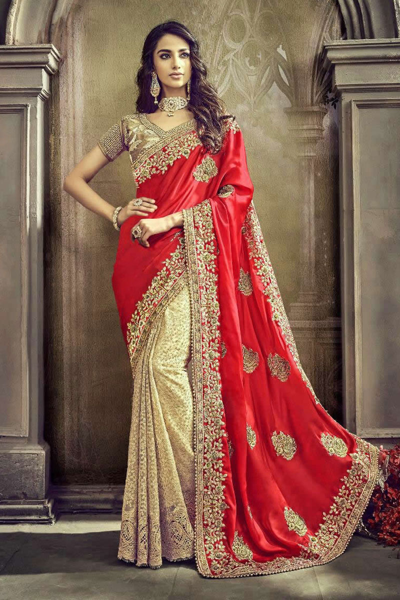 Red Color Satin Fabric Sangeet Wear Designer Saree With Heavy Embroidery